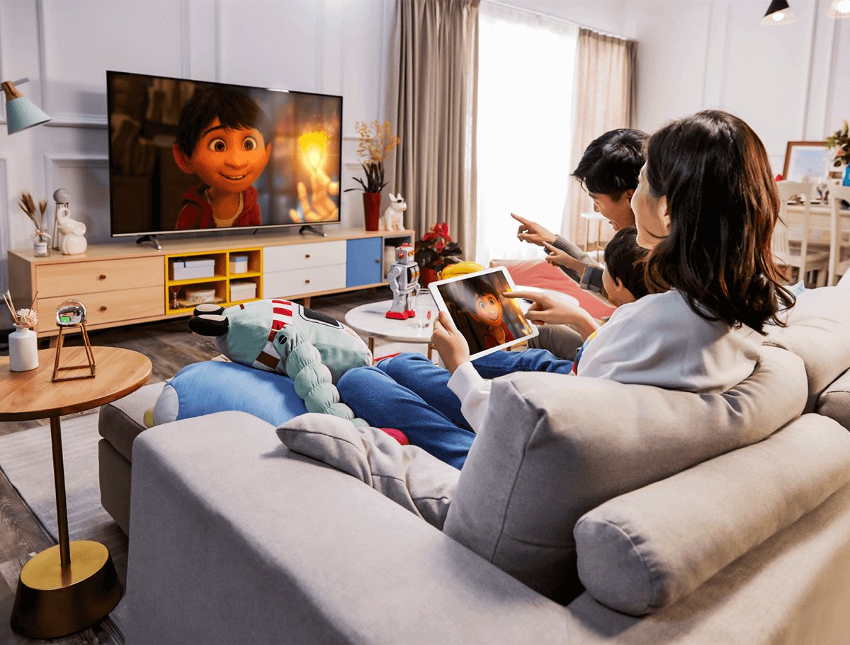 By using screen mirroring, you can watch your phone content on a TV screen to protect your cervical spine health and can also keep your children away from the phone. You can cast cartoons, children's songs or preschool learning materials to your TV for your kids to watch, listen to and learn.